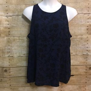 Old Navy XXL Swing Tank Shirt Blue Black Floral